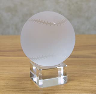 BANBERRY DESIGNS Crystal Baseball on Crystal Base - Base Can Be Engraved (Engraving Not Provided by Seller) - Frosted Glass Baseball Paperweight - Gifts for Dad - Birthday Gifts for Dad