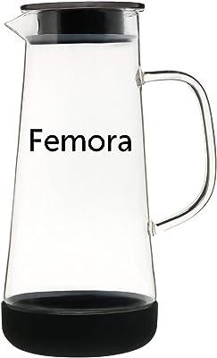 Femora Borosilicate Glass Black Drinkware Water Jug 1500 ML