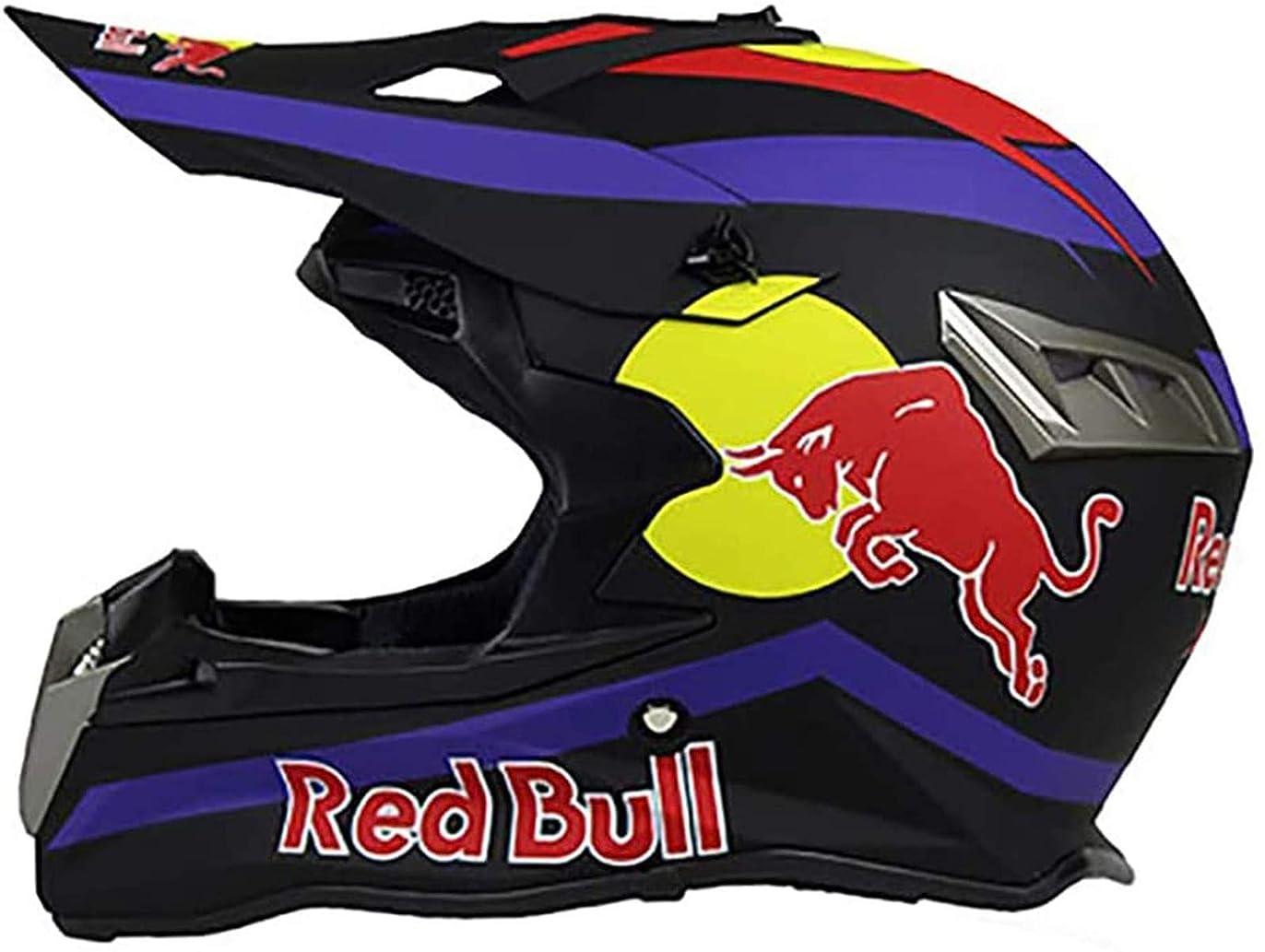 アームストロングうなずくサーキットに行くモトクロスヘルメットフルフェイスヘルメット、オートバイ/バイクヘルメットDOT/CE認定男性機関車マウンテンレーシングサイクリングダウンヒルゴーグルレッドブル A,XXL=(63~64CM)