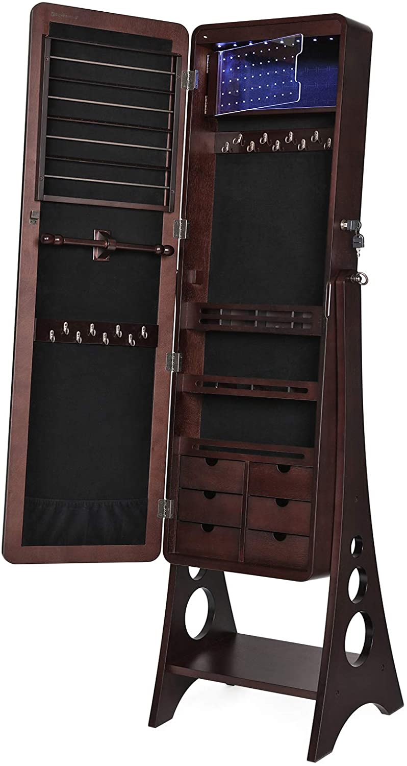 SONGMICS 8 LEDs Jewelry Cabinet Armoire with Beveled Edge Mirror, Gorgeous Jewelry Organizer Large Capacity Brown Patented UJJC89K : Home & Kitchen