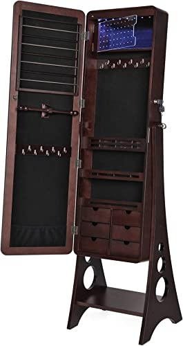 SONGMICS 8 LEDs Jewelry Cabinet Armoire with Beveled Edge Mirror, Gorgeous Jewelry Organizer Large Capacity Brown Pat...