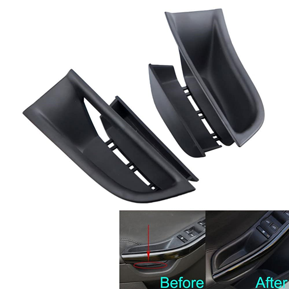 風刺モディッシュ反発Jicorzo - For Ford Focus 2011-2016 Car Inner Door Armrest Box Storage Holder Container Cover 2PC ABS Car Styling Tidying Storage Organizer [Black]
