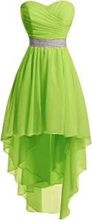 Bridesmaid Dresses Women' Strapless High Low Chiffon Wedding Party Gowns