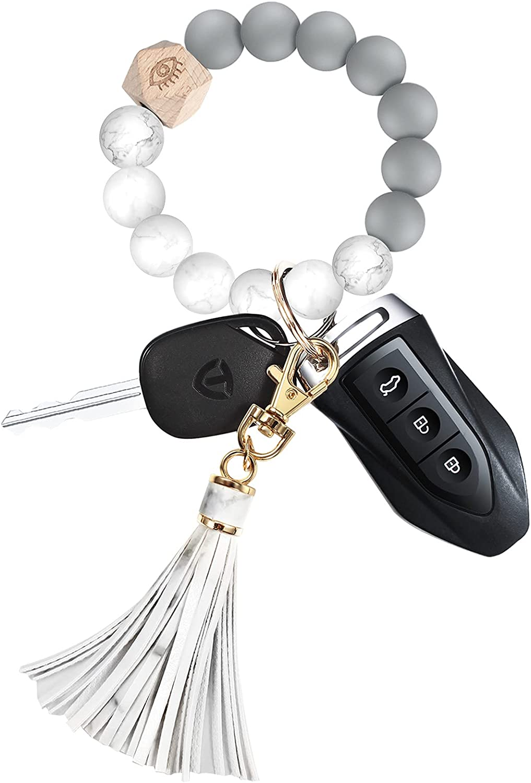Silicone Beaded Key Chains, Wristlet Keychain Bracelet Handy Key Rings Bracelet Cute Car Keychains for Women