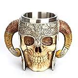 Skull Beer Cup Viking Horned Skull mug, Wisfun Stainless Steel Double Handle Skull Coffee Mug, Viking Warrior Skull Mug Tankard for Coffee/Beverage 20oz (600ML)