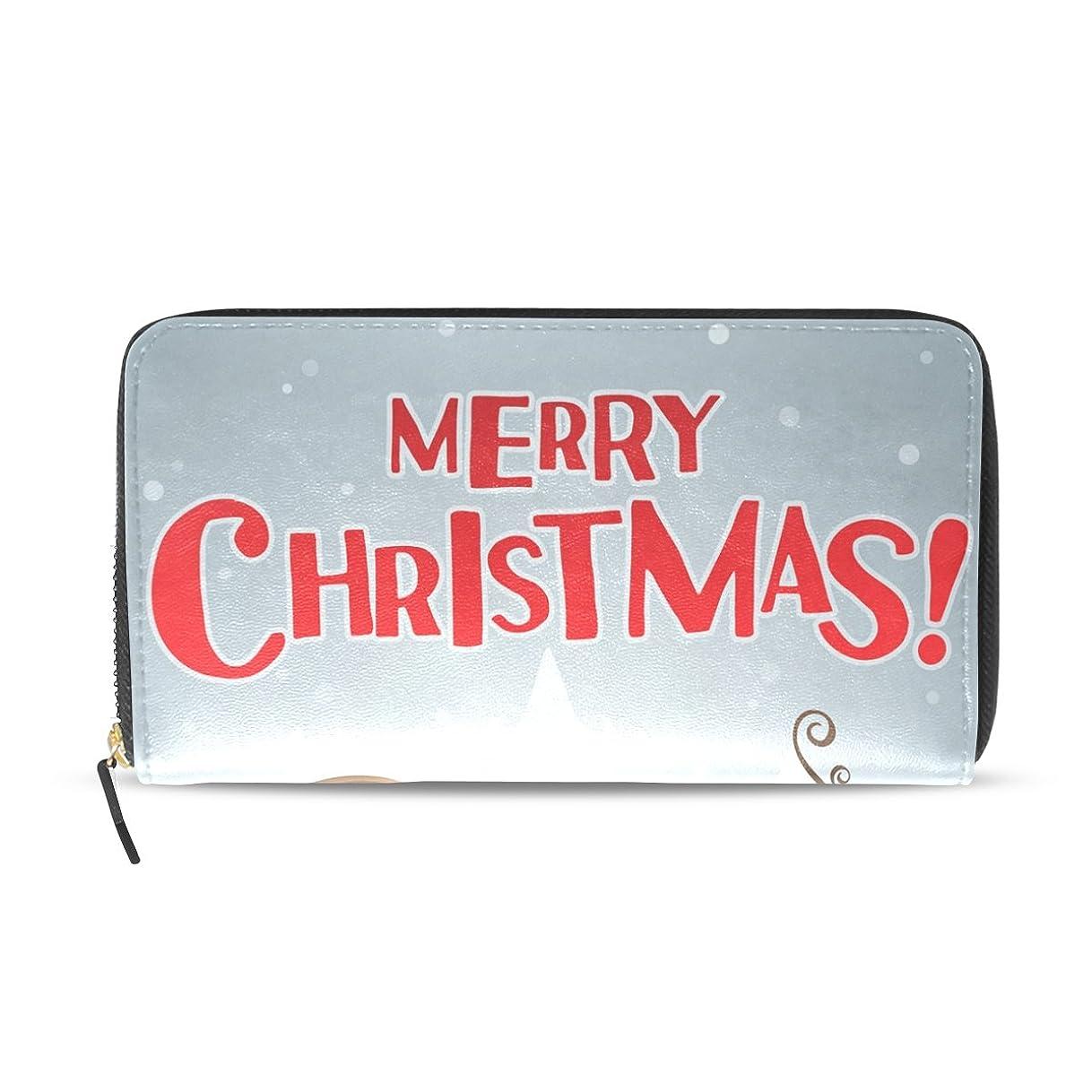 引き算ホール名義でマキク(MAKIKU) 長財布 レディース 大容量 革 レザー ラウンドファスナー クリスマス かわいい 雪だるま サンタクロース おしゃれ カード12枚収納 プレゼント対応