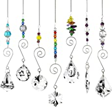 BKpearl 7 Pcs Crystals Sun Catcher, Hanging Suncatchers Beads Chain Sphere Chandelier Lamps Light Pendant for Christmas Day, Wedding, Plants, Cars, Window Décor