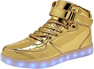 FASHION High Top LED Light Up Shoes USB Charging Sneakers for Men Women