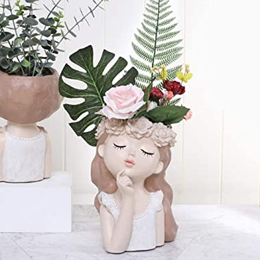 JS&Walk Flower Pots Cartoon Girl Succulents Plant Pot Outdoor Indoor Garden Planters, Cactus Planter Indoor Outdoor Plant