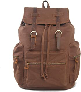 Leather Bag Mens Canvas Bag Trend Suitable for Teenagers Large Capacity Fashion Waterproof Canvas Laptop Backpack High Capacity (Color : Brown, Size : 30cm*16cm*42cm)