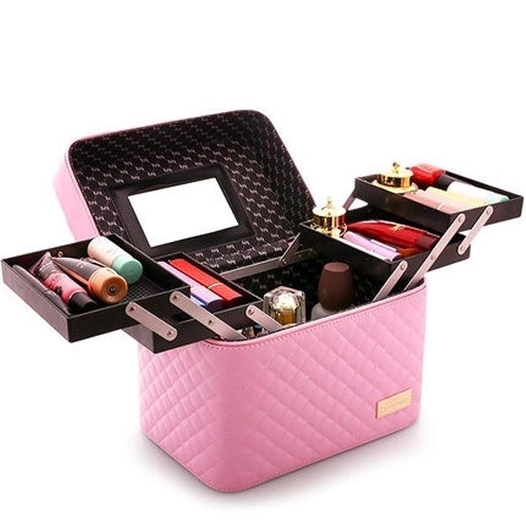 以来限りホット大容量の化粧バッグ、女性用ポータブル多層収納バッグ by zhuyuanhai (Color : 0102004 rose red)