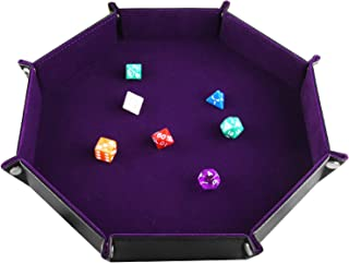 SIQUK Double Sided Dice Tray Folding Octagon PU Leather and Dark Violet Velvet Dice Holder