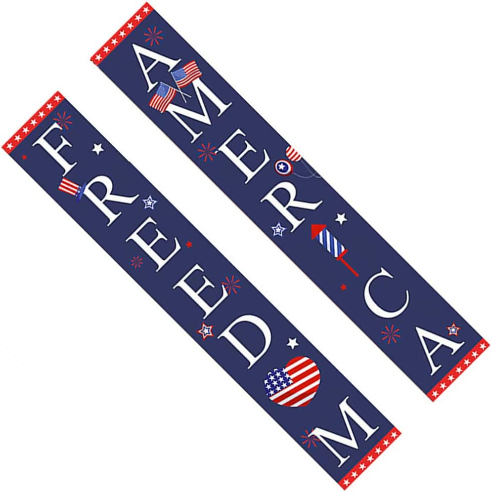 NUOBESTY 4th of July Porch Sign 5 ☆ very popular America Door Banner Hang Freedom Max 45% OFF