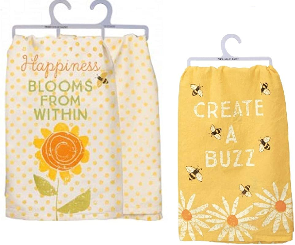 Primitives By Kathy 2 Piece Yellow Bumbleee Spring Kitchen Towel Bundle