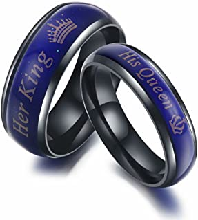 Amazing Her King His Queen Titanium Stainless Steel Moods Color-Changing Engagement Wedding Band Anniversary Promise Couple Ring Gifts