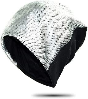 Hats Womens Cotton Beanie Sequin Cap Turban Soft Sleep Cap Chemo Hats Fashion Slouchy Hat Fashion (Color : Silver)
