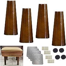 4X massief houten keukenmeubelpoot, verticale bankpoten, midden van de eeuw walnoot kleur stoelpoten vervangende voeten, v...