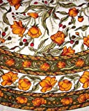 French Floral Tablecloth 70 Inch Round - Olive and Saffron
