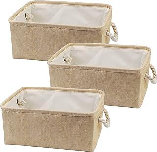 Lot de 3 Paniers de Rangement Bac de Rangement en Tissu, Boîte de Rangement Ouverte en Toile Pliable avec Poignéepour pour...