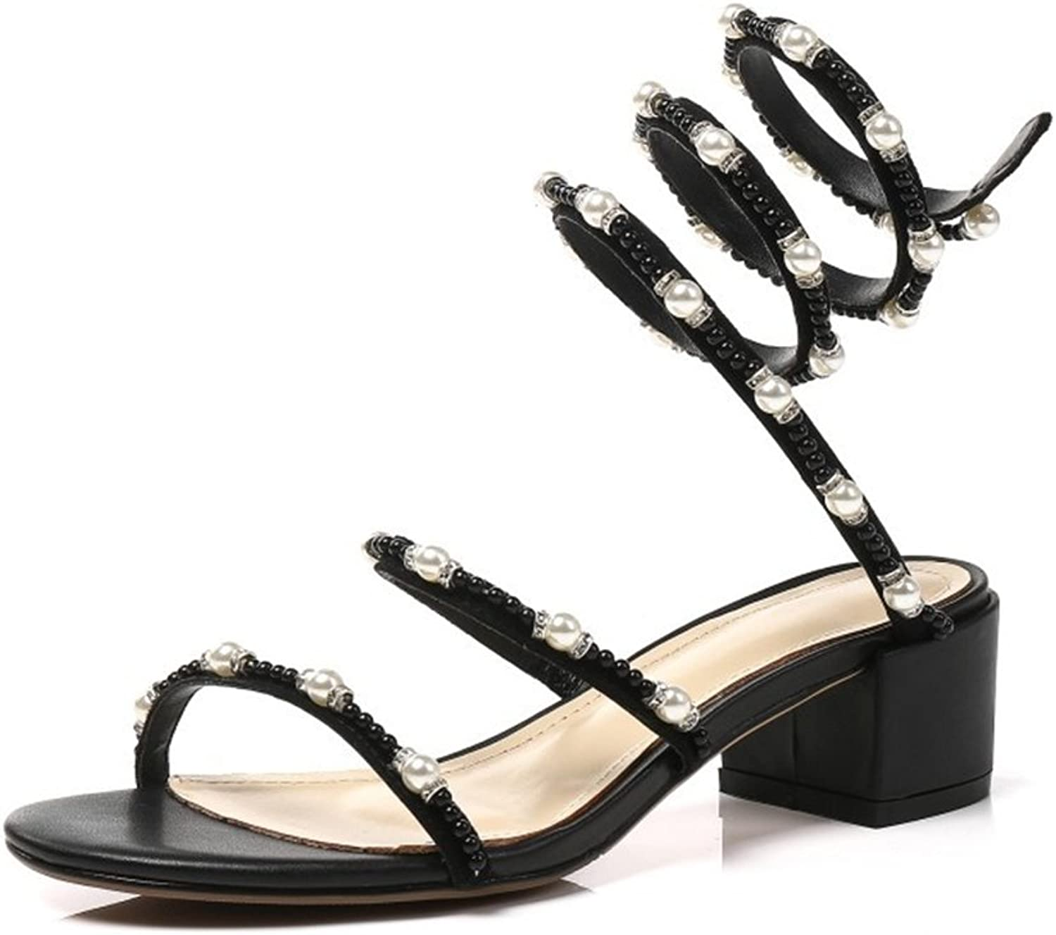 Jiang Womens's shoes PU Summer New Sandal Open Toe Rough Heel Beaded Ladies shoes for Party Outdoor Black Apricot Sandals