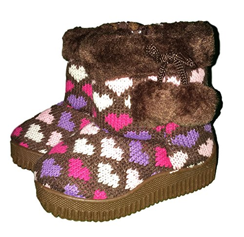Callie Knit Heart Print Faux Fur Lined Fashion Boots with Pom Poms for Toddler Girls (US Toddler 3M, Brown)