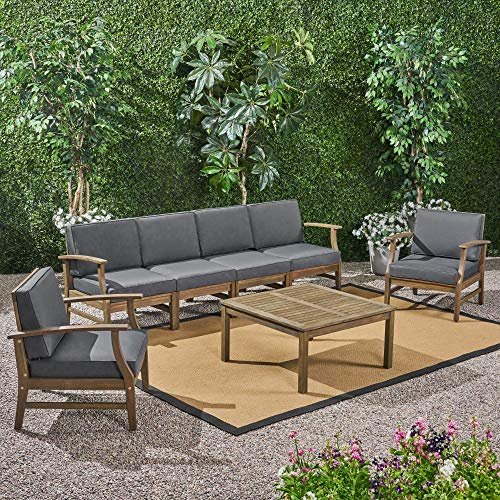 7-Piece Gray Contemporary Outdoor Furniture Patio Chat Set - Gray Cushions