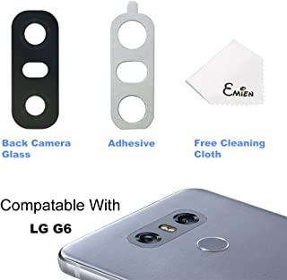 EMiEN Rear Back Camera Lens Repair Cover Glass with Adhesive Replacement for LG G6 H870 H871 H872 LS993 VS998 (Black)