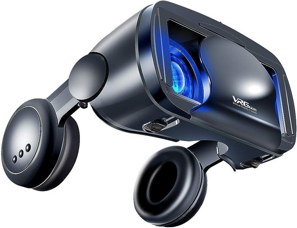 Occhiali vr con cuffie, occhiali 3d vr con compatibilità tutti gli smartphone android da 5,0 a 7,0 pollici VRG Pro