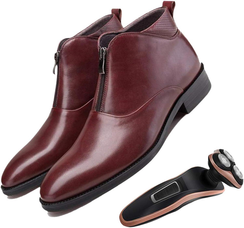 Four Seasons Boots Herren Reißverschluss Reißverschluss Reißverschluss Rundkopf Atmungsaktiv Gentleman Weinrot Schwarz Handgefertigt Erwachsene Weiches Leder B07P4F2DYL  8fef23