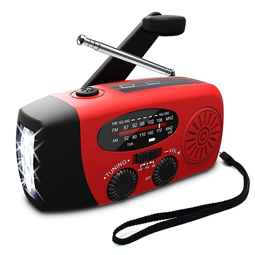 荒野二十連鎖携帯用FMラジオ1000mAh力銀行手のクランクの自己動力を与えられたAM / FM / NOAAの太陽ラジオ3 LEDの懐中電燈 (Color : Red, サイズ : 12.8cm)