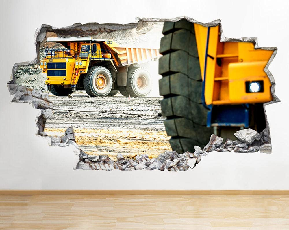 LHHYY Wall Stickers Construction Albuquerque Mall Site Cool Today's only D Smashed Trucks