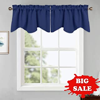 PONY DANCE Navy Valances Tiers - Window Treatments Pocket Slot Top Scalloped Tier Valances Soft Textured Woven for Kitchen Bathroom, 42 W x 18 L, Navy Blue, Set of 2