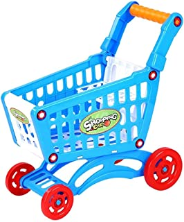 Toys Children Toy Hand Push Plastic Simulation Mini Supermarket Shopping Cart Baby Fun Toddler Stroller(Pink) (Color : Blue)