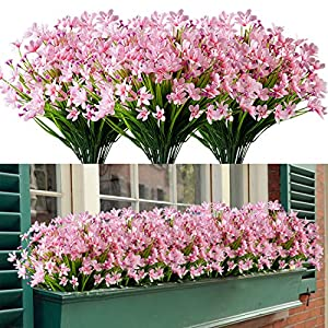HAPLIA 8 Bundles Artificial Daffodils Flowers, Fake Artificial Greenery UV Resistant No Fade Faux Plastic Plants for Wedding Bridle Bouquet Indoor Outdoor Home Garden Kitchen Office Table Vase (Pink)