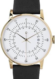 Plano Swiss Cuarzo Acero Inoxidable IP Oro Fecha Blanco Cuero Negro Reloj Unisex