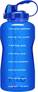 QuiFit Motivational Gallon Water Bottle – with Straw & Time Marker BPA Free..