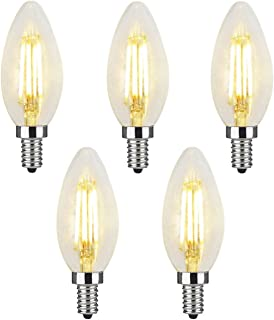 Acidea シャンデリア電球 LED クリア電球 4W E12口金 40W形相当 フィラメント LED電球 電球色 2700k 400lm C35 E12 クリアタイプ シャンデリア形 PSE 【5個入り】