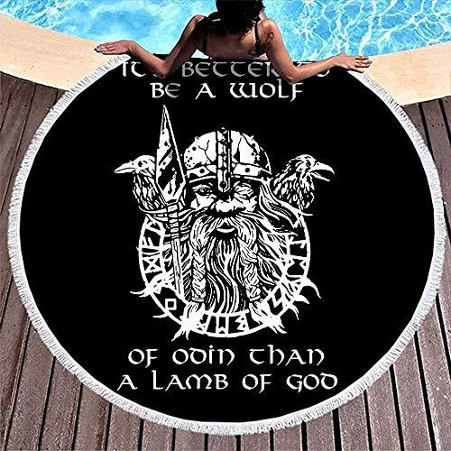 Nazi Mie Divertido Casco de Guerrero Vikingo nórdico Negro Lanza Odin 'S Dos runas escandinavas Raevn Tatuaje Toalla de Playa Redonda