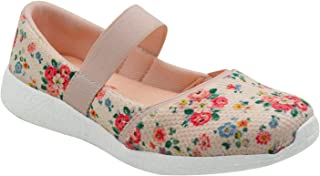 KazarMax Girls Air Cooled Memory Foam Latest Collection,Comfortable Ballet Flat's Peach Floral Printed Ballerinas/Bellies (Made in India)