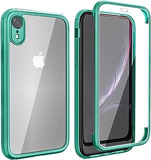FMPCUON Funda Compatible con iPhone XR, Carcasa Móvil de Protección 360° 2 en 1 Protector Caso Case Cover Cubierta, Vidrio...