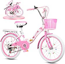 Bicicleta Plegable De Bicicleta Para Niños De 20 Pulgadas, Coche Princesa De Velocidad Ajustable Coche De Estudiante De 18 Pulgadas, Adecuado Para Niñas De 8-16 Años (color: Rosa, Azul Claro)
