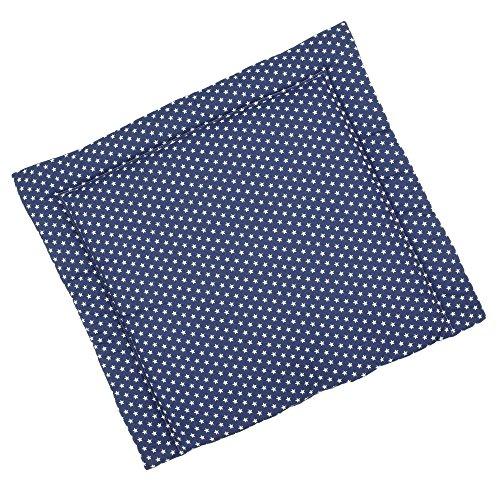 Sugarapple Wickelauflage 85 x 75 cm ca. 3 cm dick mit Oberstoff aus 100% Baumwolle, innen weich und warm wattiert, doppelt abgesteppte Nähte und machinenwaschbar, dunkelblau mit weißen Sternen