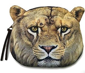 Realistic Lion Head Shaped Coin Purse | Cute Animal Face Zipper Closure Bag