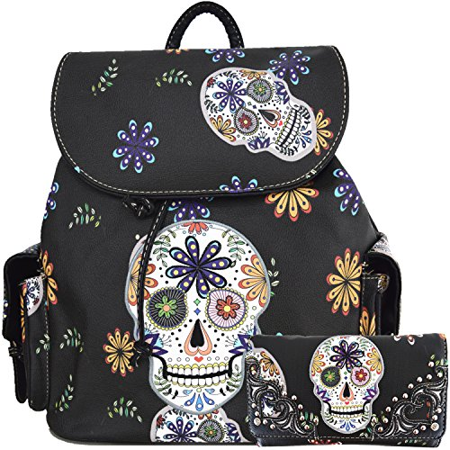 Sugar Skull Day of the Dead Daypack And Purse Set