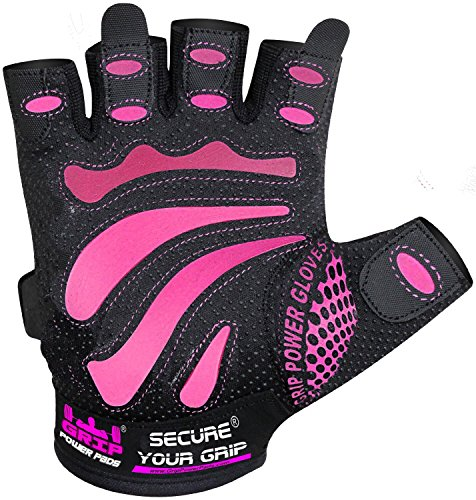 Women Gym Gloves - Mimi - Protect Your Hands & Improve Your Grip - Pink & Black Weightlifting Gloves - Easy to Pull On & Off - Adjustable Fit (Pink, X-Small)