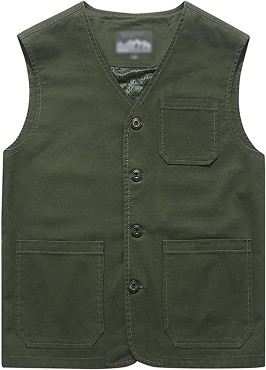 1930s Men's Clothing Flygo Mens Casual Cotton Outdoor Fishing Travel Safari Photo Vest with Pockets  AT vintagedancer.com