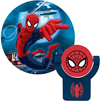 Projectables 13341 Ultimate Spider-Man LED Plug-In Night Light, Red and Blue, Collector's Edition, Light Sensing, Auto On/Off, Projects Marvel Comics Spiderman on Ceiling, Wall, or Floor