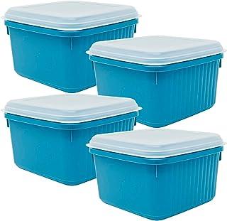 Codil Lot de 4 boîtes de rangement, récipients de cuisine, récipients réutilisables, boîtes en plastique, carrées avec cou...