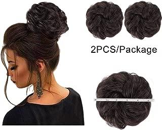 AISI QUEENS 2PCS Messy Bun Hair Piece 100% Human Hair Scrunchies Buns Hair Pieces for Women Curly Wavy Black Bun Elegant Chignons Wedding(Color:2#&Dark Brown)
