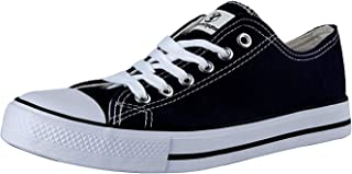 Shinmax Canvas Shoes for Women Men Red White Black Low Top/High Top Unisex Canvas Sneaker Low-Cut Hitops Canvas Shoes-Season Lace Up Shoes Casual Trainers